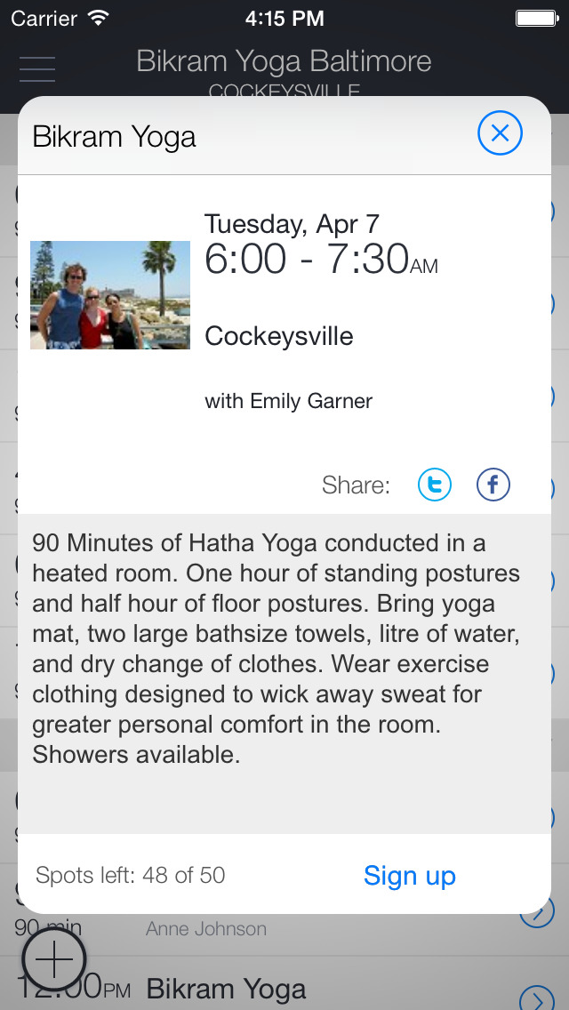 Bikram Yoga Baltimore Mobile screenshot 2