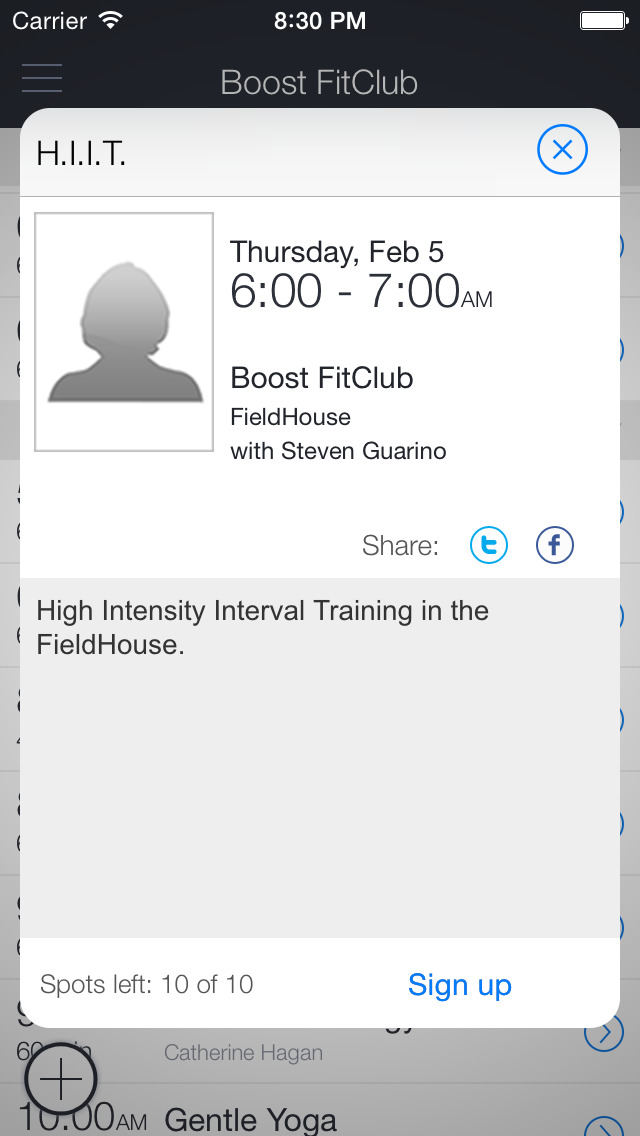 Boost FitClub screenshot 2