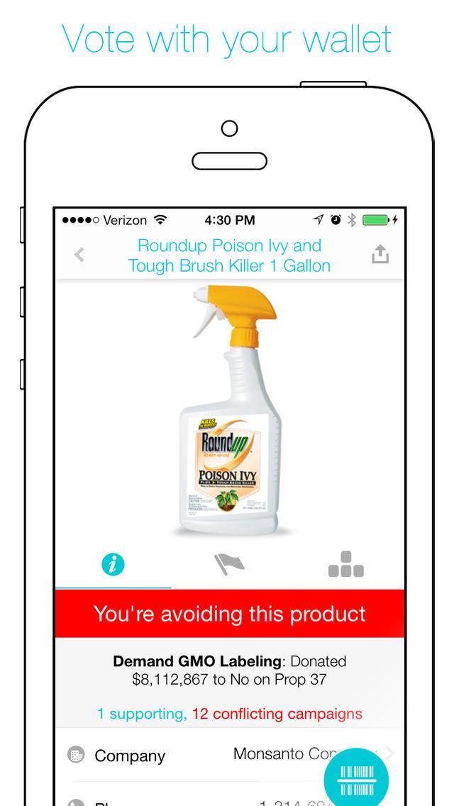 Buycott - Barcode Scanner & QR Bar Code Scanner screenshot 1
