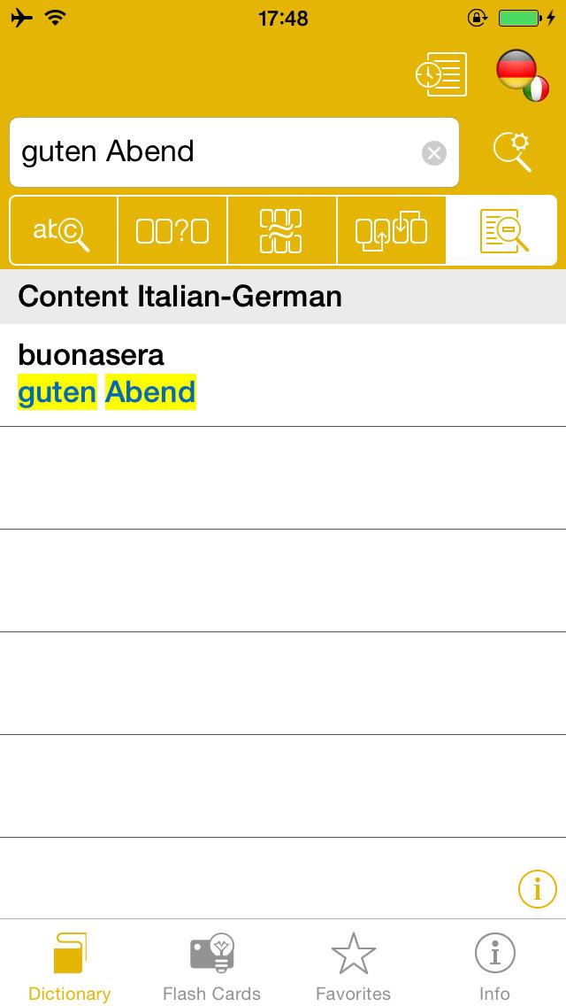 German <-> Italian Talking Dictionary Global Mondadori Langenscheidt screenshot 3