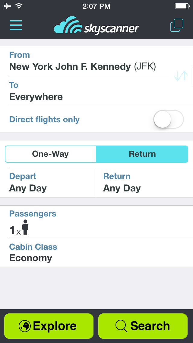 Skyscanner – travel deals screenshot 1
