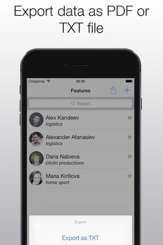 Business Contacts App - náhled