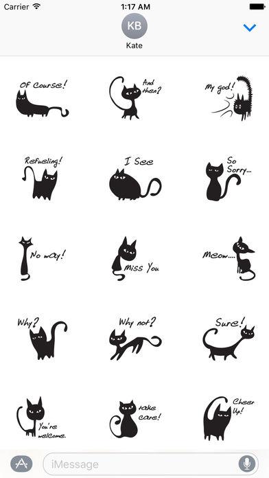 Cute Black Cat Talk Sticker screenshot 1