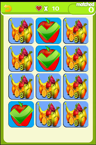 Matching Cards Game Fruit World Free - náhled