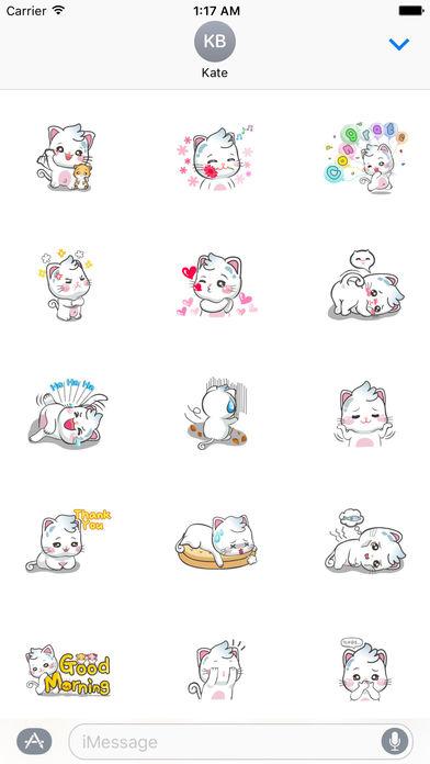 Snow Cat So Cute Sticker screenshot 1