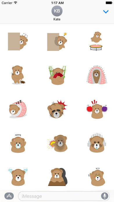 Lovely Brown Bear With Love Stickers screenshot 2