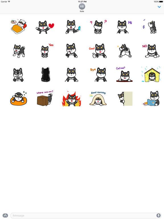 Animated Cute Black Shibainu Stickers screenshot 3
