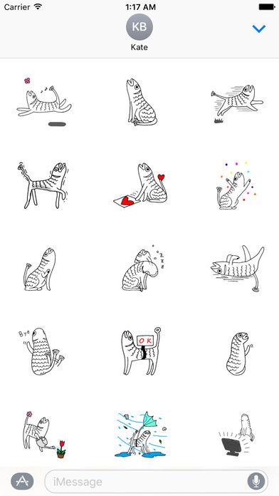 Weird Stickers - Fish Cat screenshot 1
