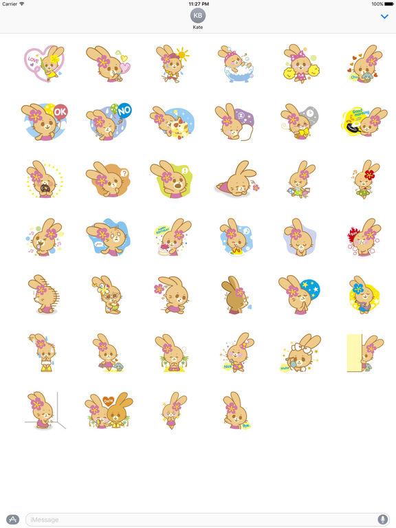 Cute Rabbit In Hawaii Sticker Packs screenshot 4