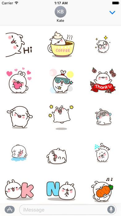 White Bunny Animated Sticker screenshot 1