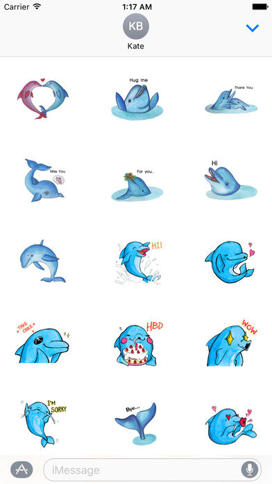 Watercolor Funny Dolphin Sticker screenshot 1