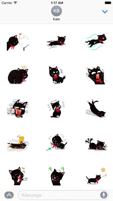 Naughty Black Cat Emoji Sticker screenshot 1