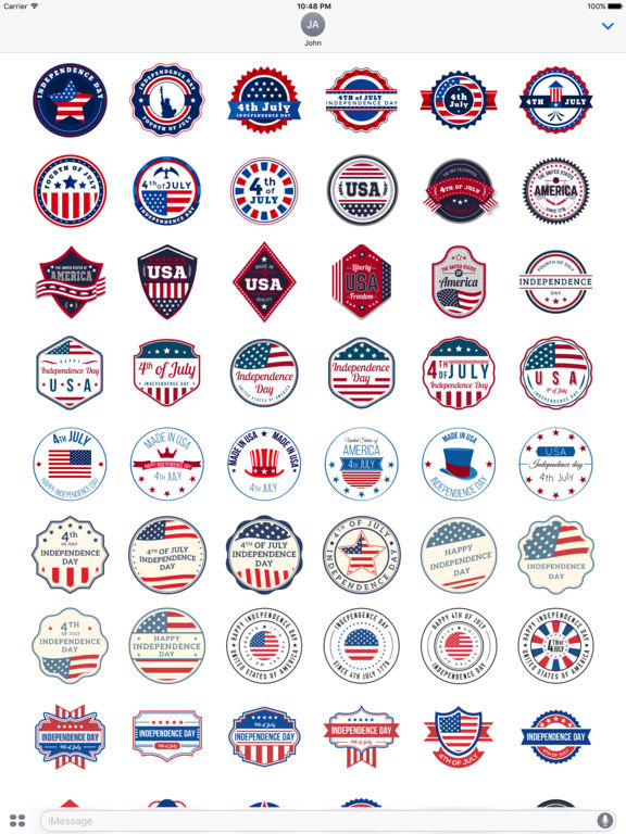 4th of July - 120+ Badge Independence Day Stickers screenshot 6