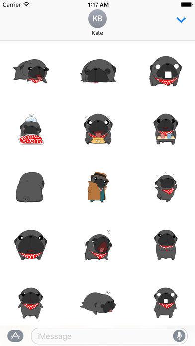 Cute Black Pug Dog Sticker screenshot 2