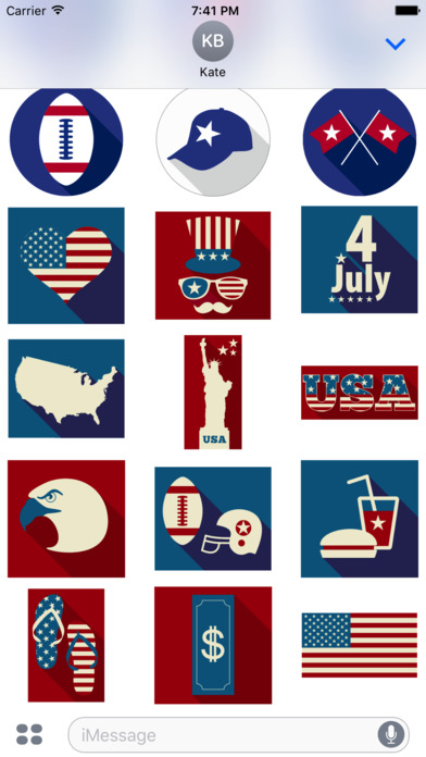 4th of July - Minimal Independence Day Stickers screenshot 4