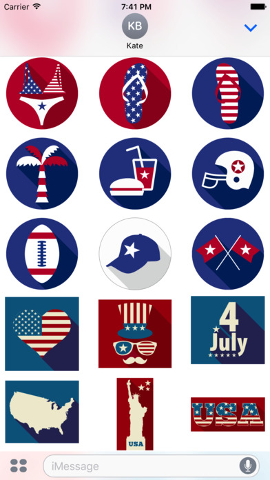 4th of July - Minimal Independence Day Stickers screenshot 3