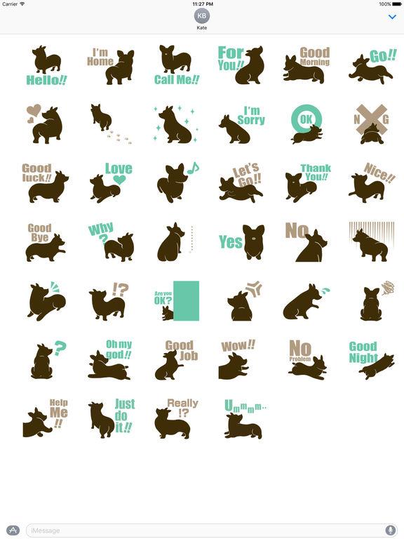 Welsh Corgi Dog Silhouette Sticker Pack screenshot 4