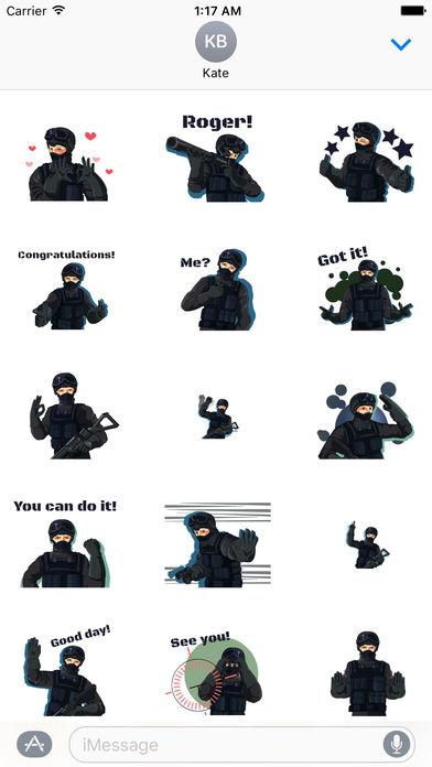 Animated Cute SWAT Sticker screenshot 1