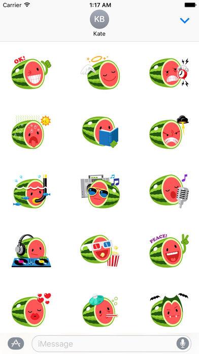 Funny Watermelon Emoji Stickers screenshot 1