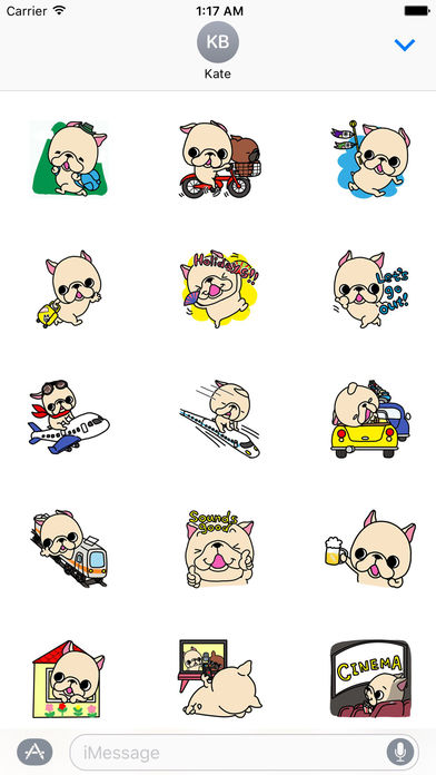 Cute French Bulldog on Holiday Stickers screenshot 1