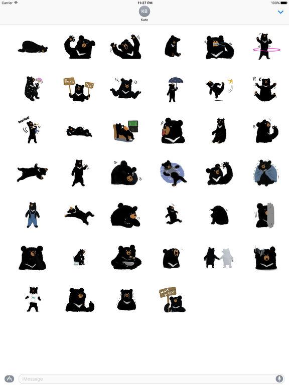 Cute Black Bear Sticker screenshot 4