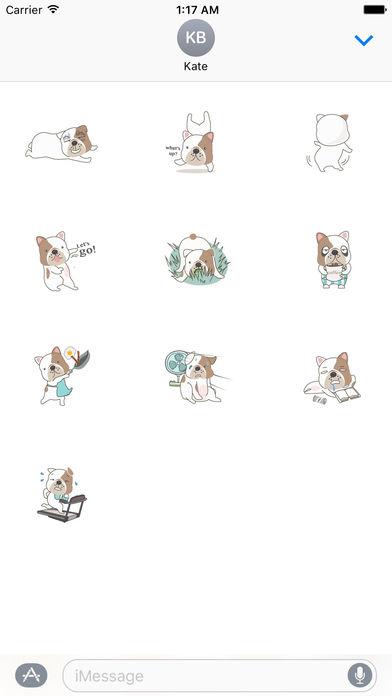 Funny English Bulldog Sticker Pack screenshot 3