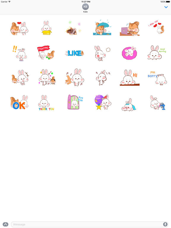 Animated Happy Rabbit and Squirrel Stickers screenshot 3