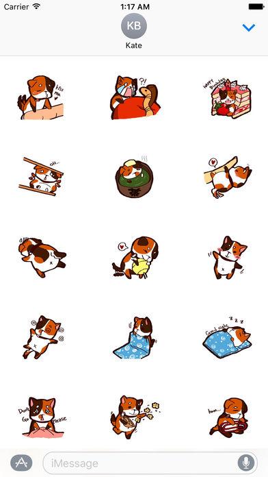Tricolor Mini Dog Sticker Pack screenshot 2
