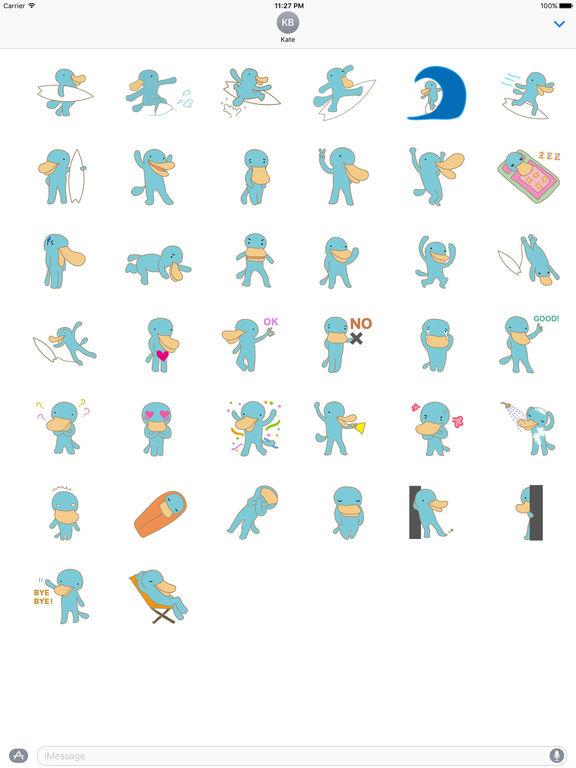 Cute Platypus Surfing Sticker screenshot 4