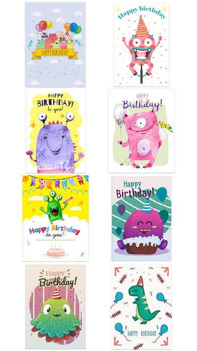 Birthdaye Card - Best Wishes with Cute Monsters screenshot 4