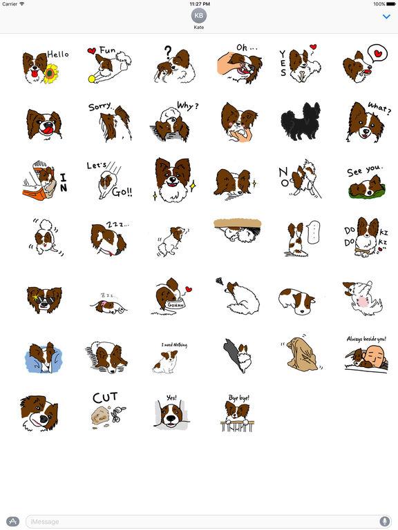 Papillon Dog Emoji Sticker screenshot 4