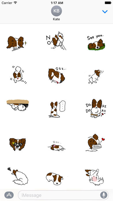 Papillon Dog Emoji Sticker screenshot 2