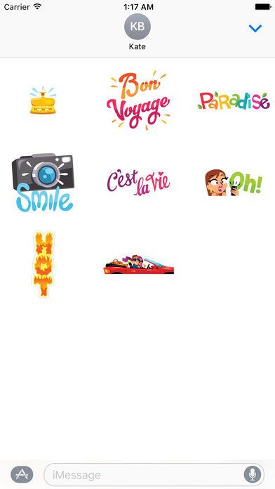 Love and Summer Vacation Emoji Sticker screenshot 3