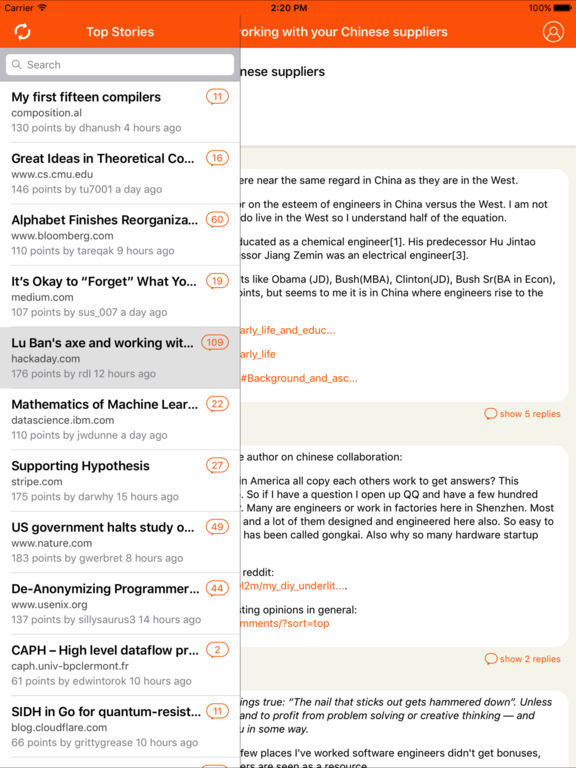 Hacker News ® screenshot 5
