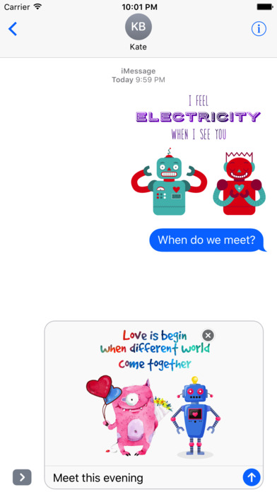 Love Quotes with Monster,Robot,Dinosaur Characters screenshot 3