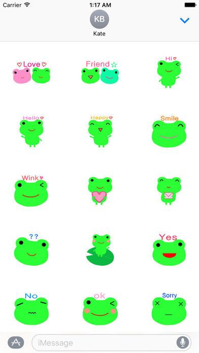 Cute Green Frog Emoji Sticker screenshot 1