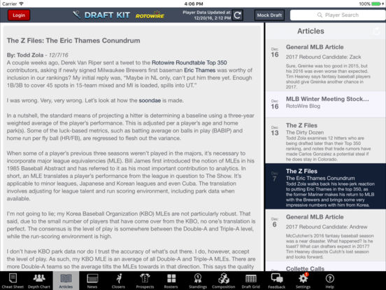 RotoWire Fantasy Baseball Draft Kit 2017 screenshot 8