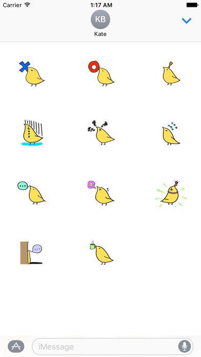 Chidori Cute Yellow Bird Sticker screenshot 3