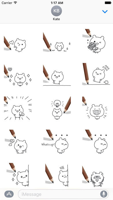 Animated Cute Pencil Bear With Words Sticker screenshot 3