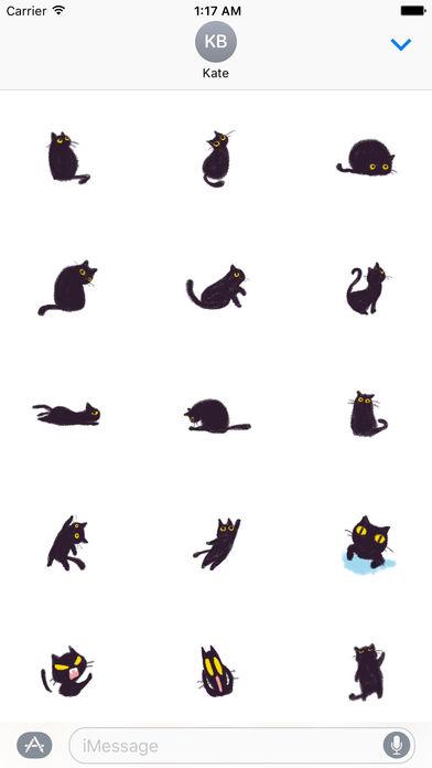 Soft Black Cat Catmoji Sticker screenshot 1
