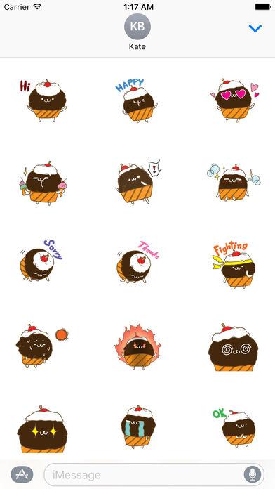 Cute Chocolate Cupcake Sticker screenshot 1