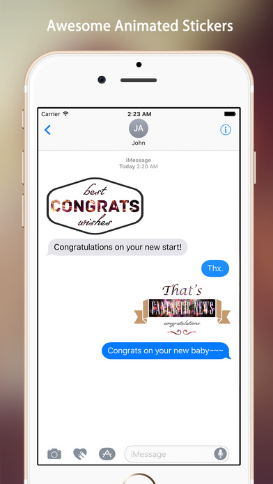 Animated Congrats Stickers screenshot 1