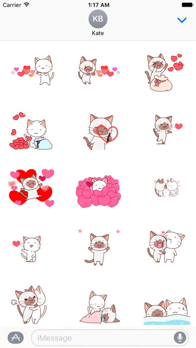 Cat and Love - Animated Sweet Sticker screenshot 1