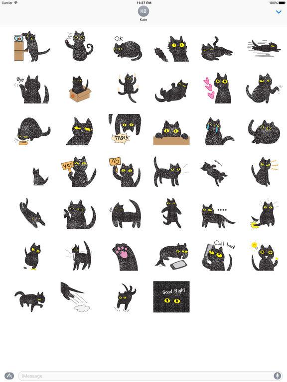 Twinkling Black Cat Sticker screenshot 4
