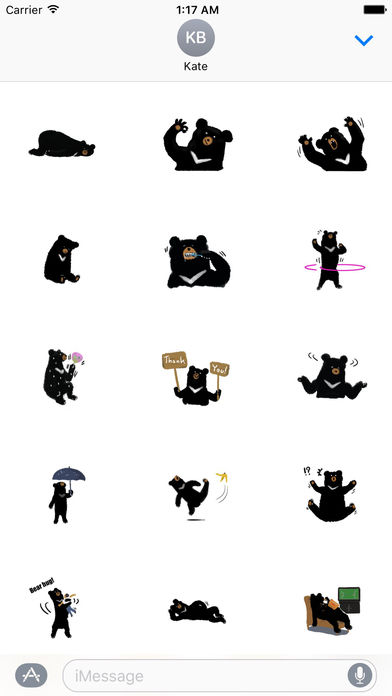 Cute Black Bear Sticker screenshot 1