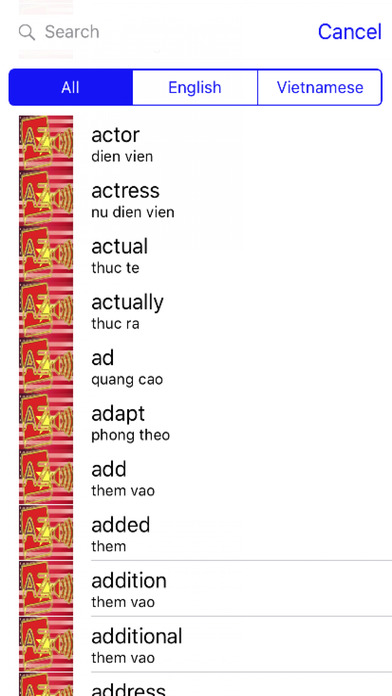 Vietnamese Dictionary GoldEdition screenshot 2