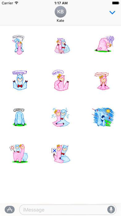 Lovely Alpaca Couple Sticker screenshot 3