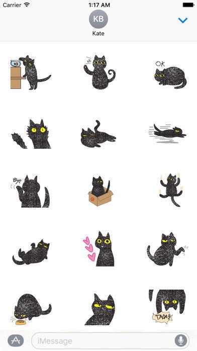 Twinkling Black Cat Sticker screenshot 1