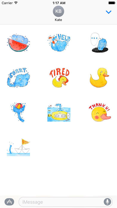 Cool Watercolor Water Elephant Sticker screenshot 3