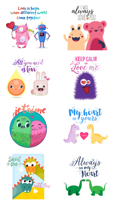 Love Quotes with Monster,Robot,Dinosaur Characters screenshot 5